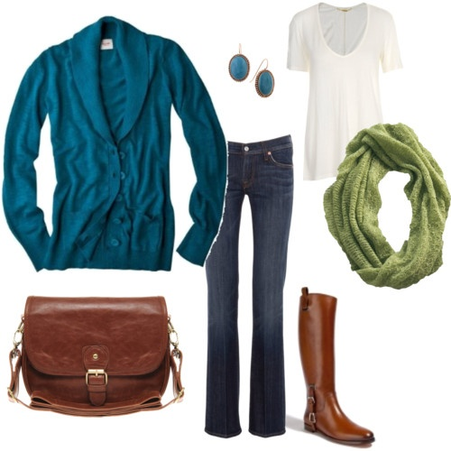 I need another good pair of boots!: Colors Combos, Fashion, Fall Style, Green Scarves, Clothing, Blue Green, Fall Outfits, Casual Outfits, Boots