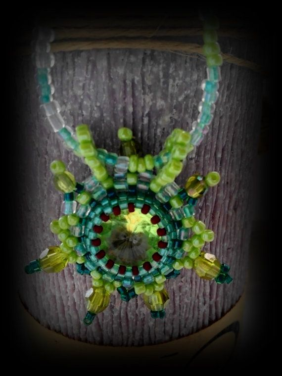 Green Spring- chic pendant,beaded ,handmade