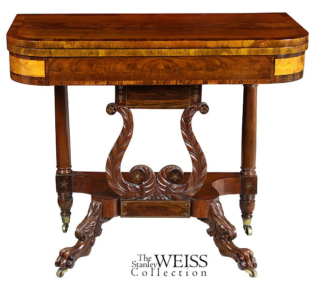 A Classical Carved Mahogany Lyre Card Table with Rosewood, Maple, and Brass Embellishments, New York, c.1815 $9,500Carvings Mahogany, Cards Tables, Brass Embellishments, C 1815 9 500, New York, Lyre Cards, Classic Carvings, Mahogany Lyre
