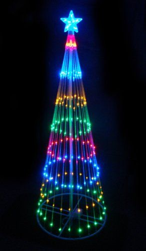 Outdoor Lighted LED Christmas Tree Decoration Item #03585 Features:  Pre-lit with 200 multi-color mini LED lights Bulb size: wide angle Bulb color: multi-color Multi-color consists of red, blue, amber and green Cycles 9 different dazzling light show effects ranging from: steady burning, slow fade, random twinkle, fast spiral just to name a few Additional product features: Glowing star tree topper White metal frame and stand 9 foot black lead cord UL listed for indoor/outdoor use 120 volts…