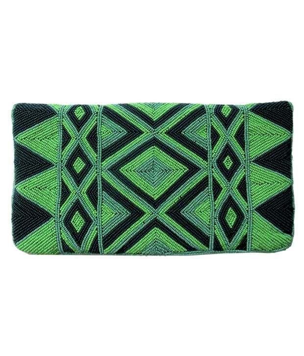 Kawaii Green Silk Magnit Button Clutch