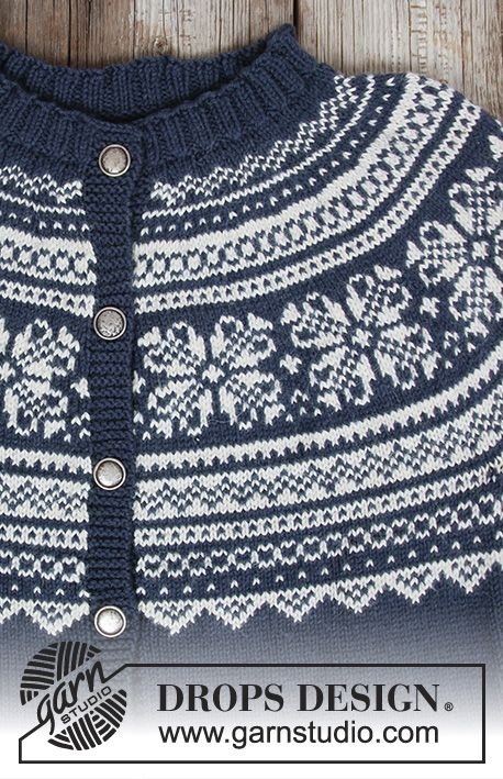 Jakke med rundt bærestykke, flerfarvet norsk mønster og A-facon, strikket ovenfra og ned. Størrelse S - XXXL. Arbejdet er strikket i DROPS Lima.