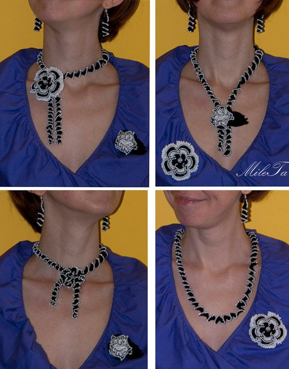 Crochet Beaded Jewelry Set Necklace Brooch Earrings, Lace Fashion Jewelry Set, Black and White Jewelry, Transformable Jewelry Set by MileTa