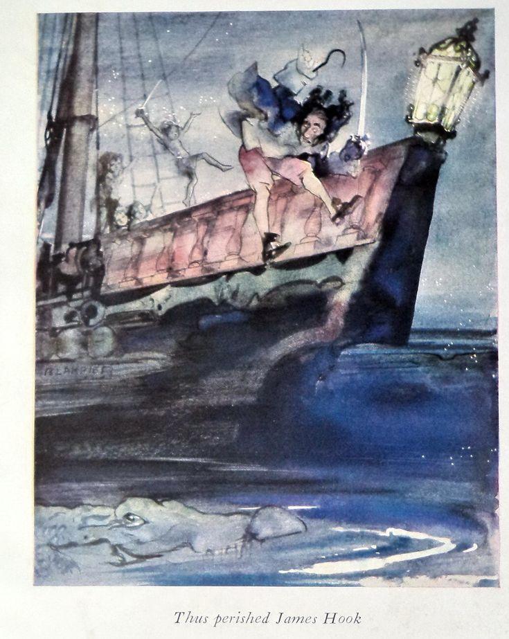 1940 Original Peter Pan Blampied Print Captain Hook, Hook Perishes,  Nursery Decor, Child Gift, Original Print, Neverland, Hook, Room Decor by MushkaVintage3 on Etsy