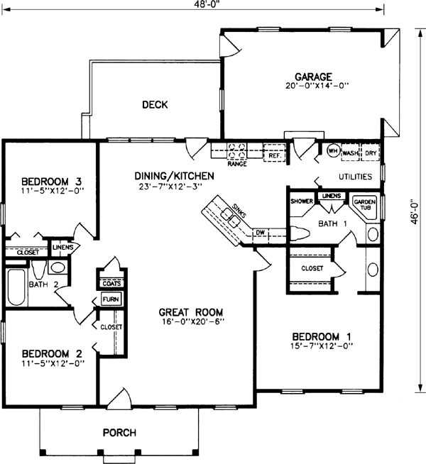 Ranch House Plans 3 Bedroom Garage Rear Ranch Style