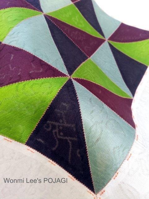 ポジャギのオリジナル手芸キット「 風車柄のポジャギ」 ウォンミ リーのポジャギな日々 三角のピースを綺麗に合わせる