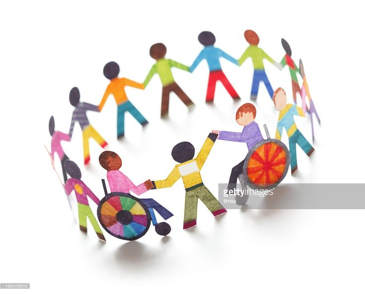 Ethnic circle with handicapped person - paper concept.