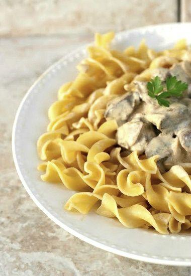 Creamy One-Skillet Mushroom Stroganoff! http://www.yummly.com/blog/2013/02/creamy-one-skillet-mushroom-stroganoff/