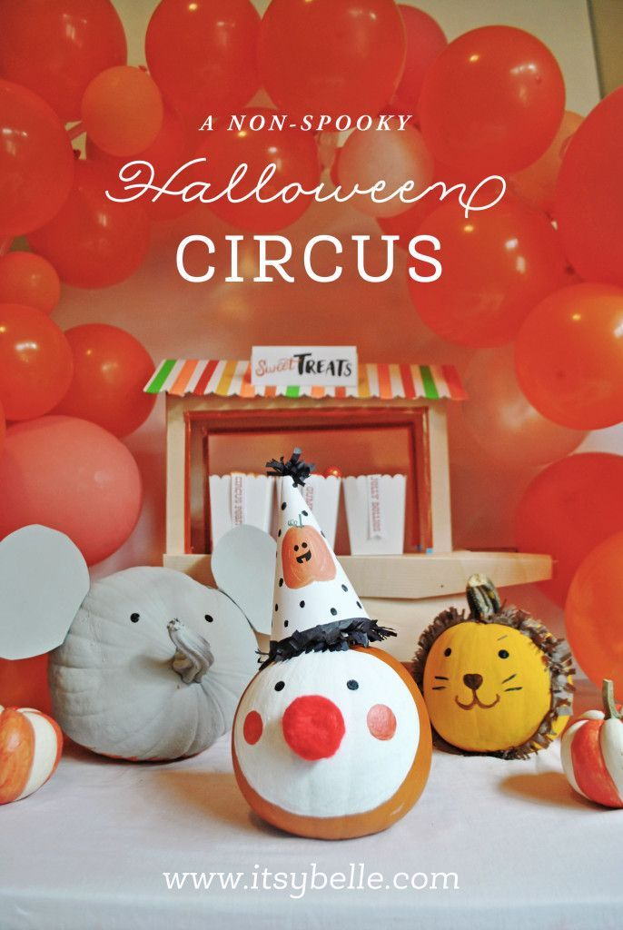 Non-spooky Halloween Circus Party Ideas. Animal Painted Pumpkins by Itsy Belle Studio. Preschool Friendly Halloween Crafts