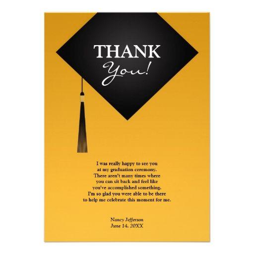 thank you graduation black hat flat card  zazzle