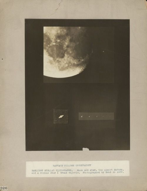 Harvard College Observatory, earliest stellar photographs, moon and star, the planet Saturn and a double star ζ Ursae Majoris, [composite image], photographed by  George Phillips Bond in 1857
