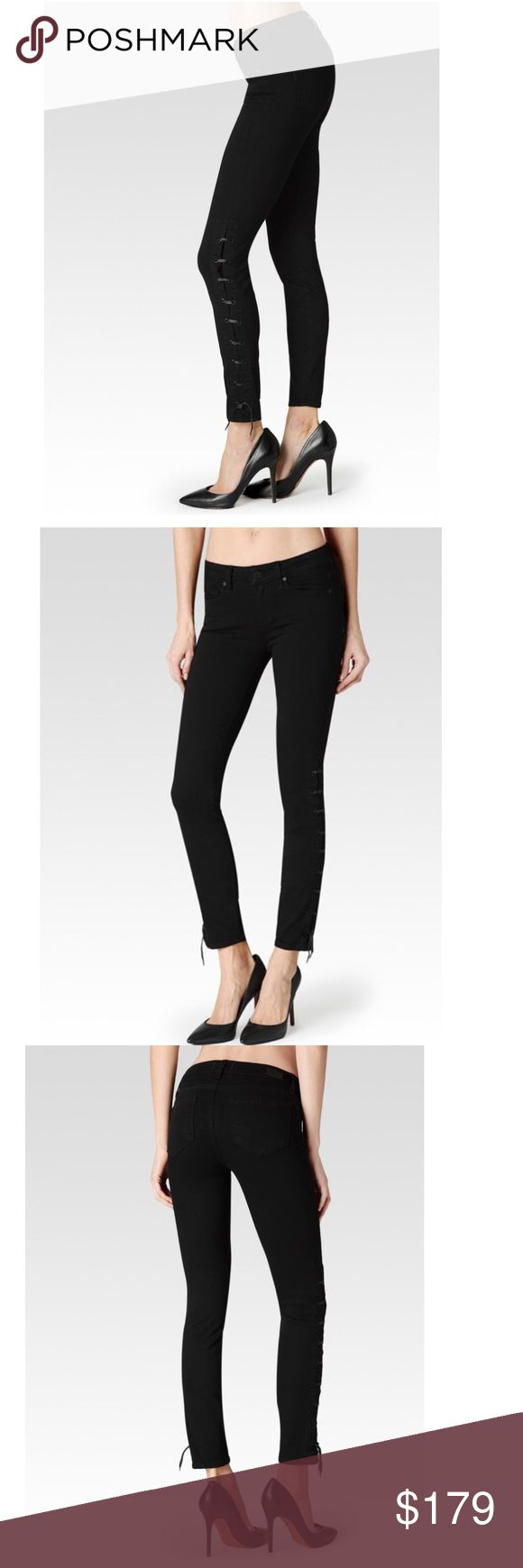 "Paige black ankle jeans-NWT- size 26 Paige Wyatt ankle black jeans - NWT- size 26. Features innovative transcend technology that promises a luxurious feel, comfortable fit, & unyielding support. Showcasing a romantic, lace-up detailing that gracefully stretches from the ankle to high knee, this jean is designed with a slim fit and delicate charm. Mid-rise, ankle-length. According to Paige website: inseam: 28"", front rise: 8 3/8"".  These are amazing and sold out everywhere!!! Photo of actual…"