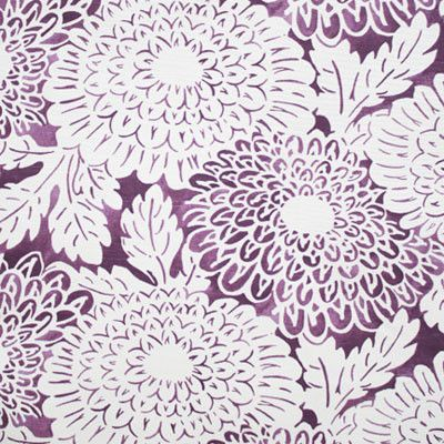 A stunning, oversized floral in a plum purple and creamy white. Fabric hasa textural slub woven in. Suitable for upholstery, drapery, curtains, roman blinds, c