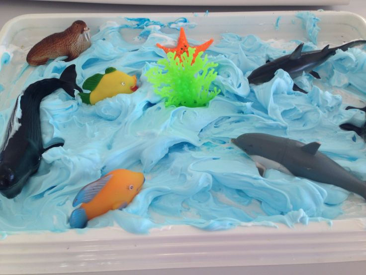 BLUE Under the sea play.. Shaving cream with blue food colouring and sea animals. The kids love it.