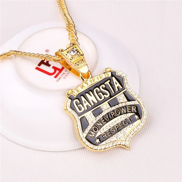 Vintage Gangsta Badge Pendant Necklace Hip Hop Chains For Men Money Power Respect Long Gold Chain Rhinestone Jewelry Wholesale