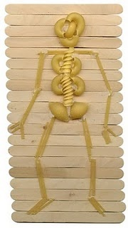 pasta skeleton - my kids would love this - great school project.  Maybe that is just the ex-homeschooling mom coming out in me.