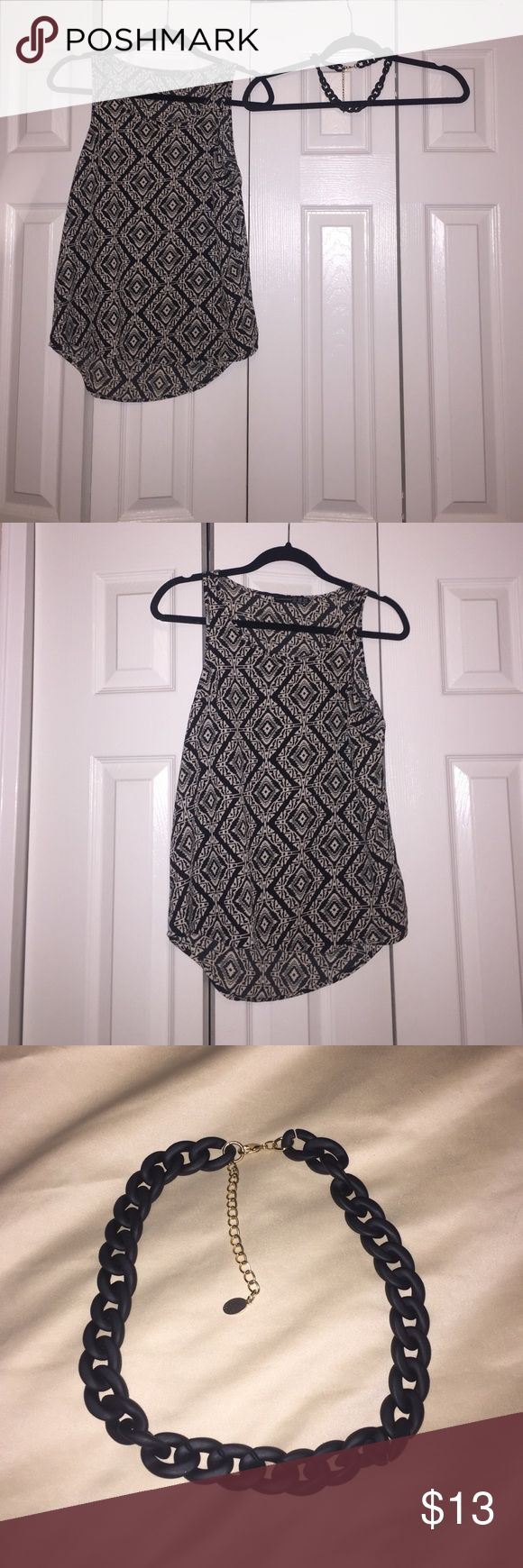 Black and white top (free black chain) Dressy black and white top. Longer at the back compared to front length.I'm also giving away a FREE black chain that goes lovely with it! New but no tags. Both never been worn. primark Tops