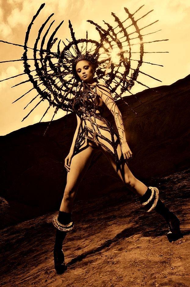 .headdress / trippy armor / women's avant garde fashion