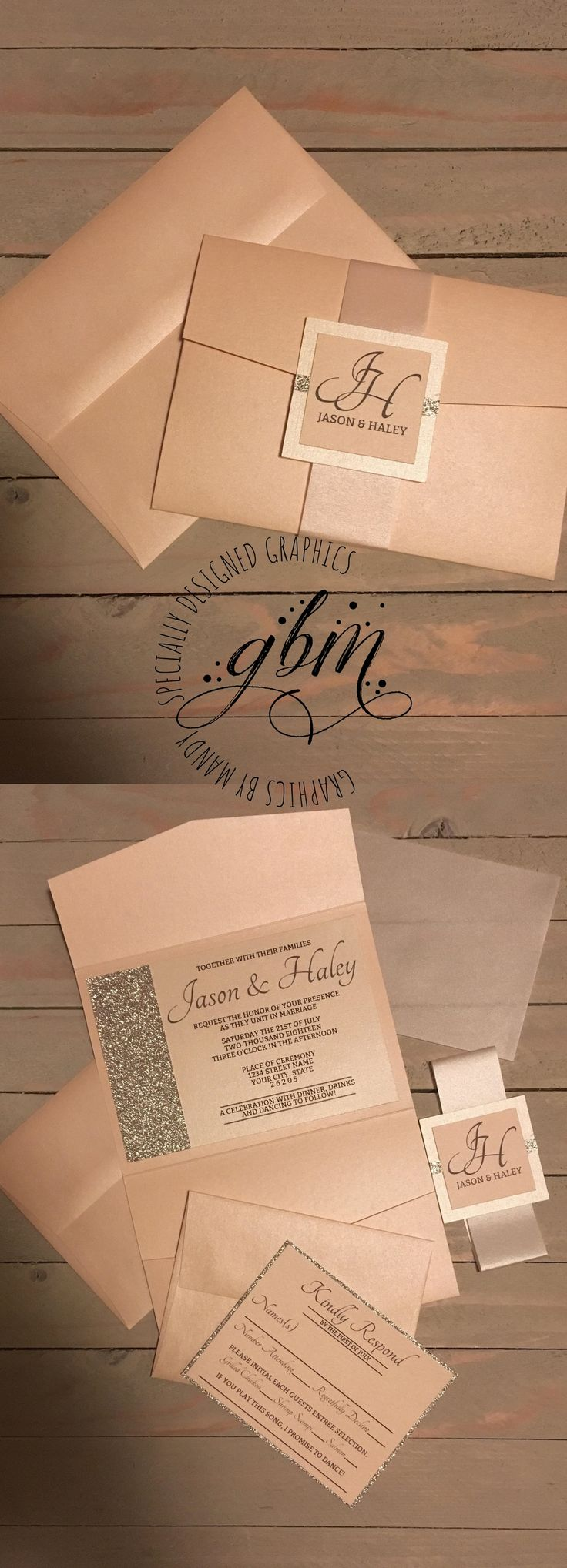 how to put guest names on wedding invitations%0A   Feelin Peachy   Luxury Wedding Invitation  Light peach and silver glitter  pocket fold  This set includes a shimmer light peach pocket fold with  matching