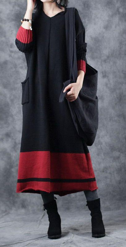 e4a52e92118 boutique-black-knit-dresses-plus-size-v-neck-pullover-sweater -boutique-patchwork-winter-dress1