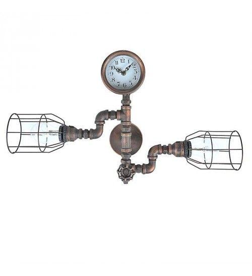 METAL WALL LAMP W_2 LIGHTS IN BROWN COLOR 62Χ12Χ33