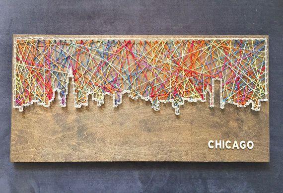 Custom Chicago Skyline String Art by CactusCustomDesigns on Etsy