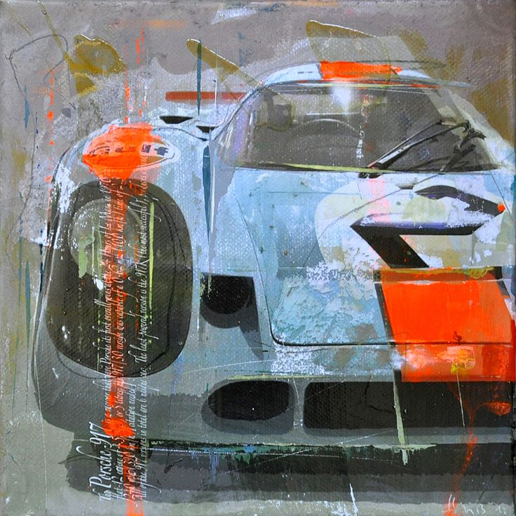 Porsche 917 on canvas by Markus Haub. The 917 inspired the Scalfaro LM917 Hans Mezger Watch Edition – the Air-Cooled Chronograph #917 #mezger #hans #mans #sarthe #kh #lh #917k #917kh #917l #917lh #1971 #1970 #air-cooled #luftgekuehlt #scalfaro #cars #watch #wristwatch #legend #icon #edition #limited #swiss  See www.scalfaro.com/lm917/ for more details on the Scalfaro LM917 Hans Mezger Watch Edition