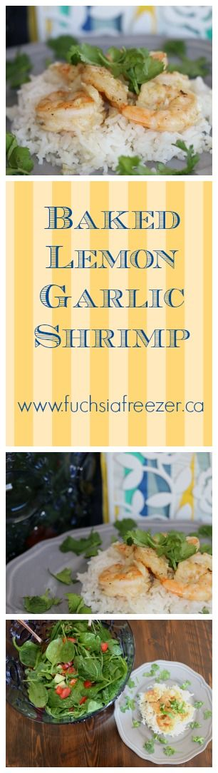 4 simple steps, 6 ingredients, and 15 minutes makes this amazing Baked Lemon Garlic Shrimp! Serve alone, as an appetizer or on a bed of rice for a full meal! Find this and more at www.fuchsiafreezer.ca