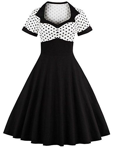 Rolansica Damen 50er Retro Kleider Rockabilly Abendkleider Cocktailkleid  Partykleid Ballkleid große größen Black White 3XL. Das atemb… ec97bd2ba3