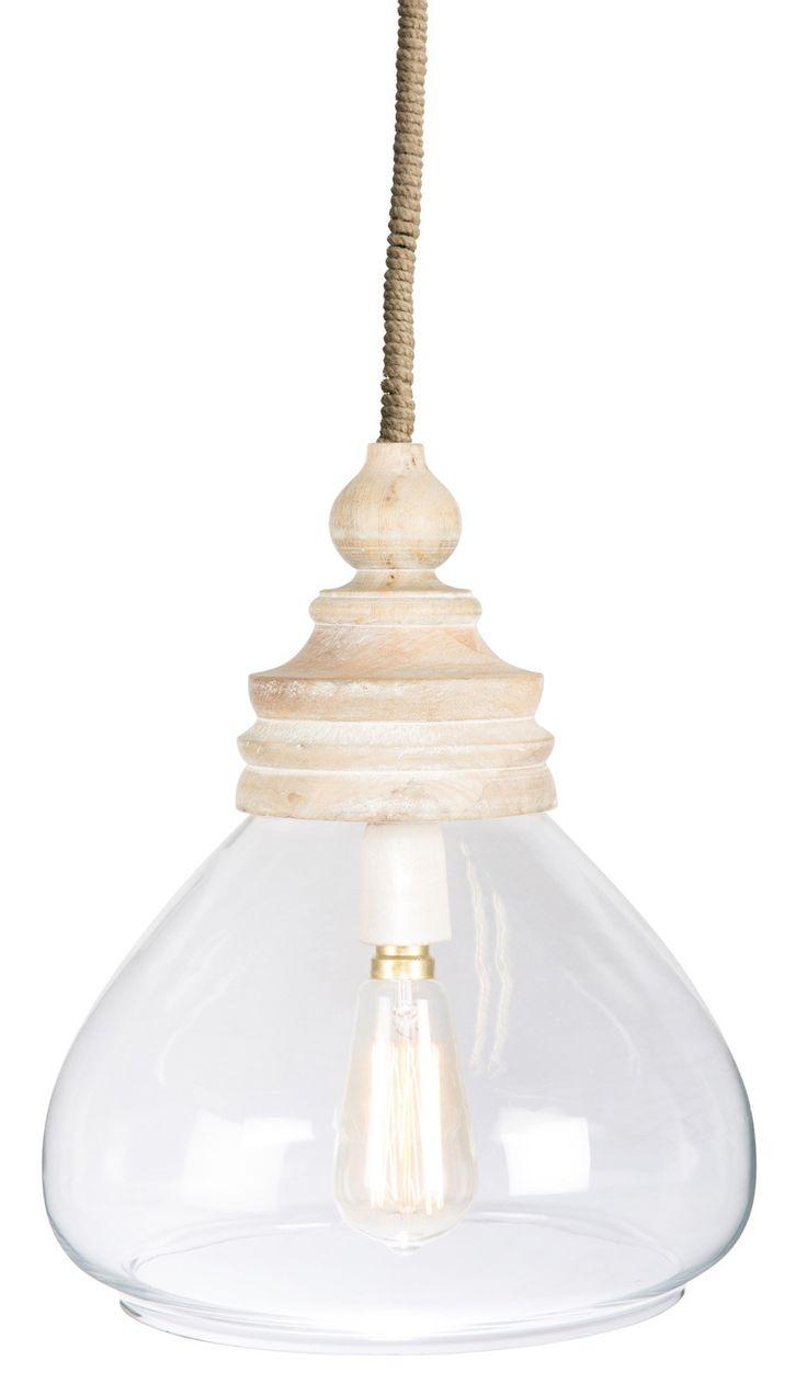 Hamptons clear glass and wood, pendant light, medium