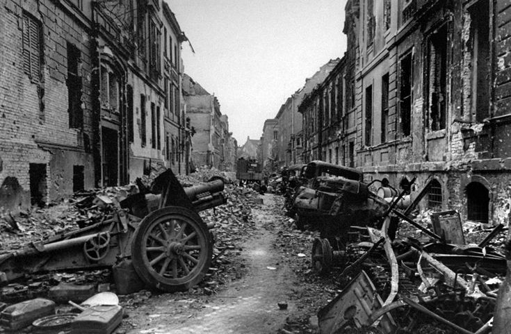 Utter destruction in the Obervallshtrasse, Berlin shortly after the end of the battle. Obervallshtrasse experienced some of the worst fighting during the Russian advance to neutralize the capital of Hitler's Germany.