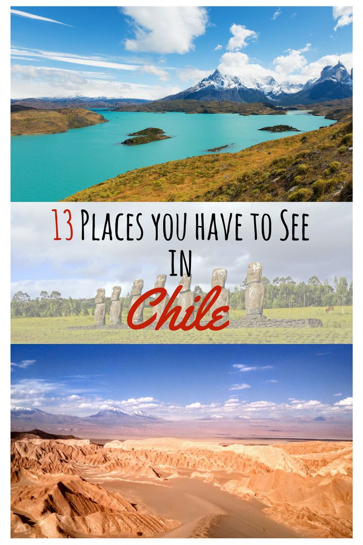 You want to travel to Chile? Here are 13 places you shouldn`t miss out on. Chile is simply amazing with it`s beautiful mountains, incredible national parks, glaciers and the Atacama Desert. Some Must-See places are the Torres del Paine National Park, Valparaiso, Santiago, the Lake District or La Serena but there are many more to see #travel #chile #southamerica #santiago #valparaiso #valledeelqui #Torresdelpaine #futalefu Thanks a million for repinning