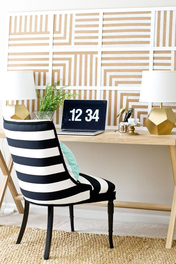 DIY Oversized Striped Corkboard 272 best Office