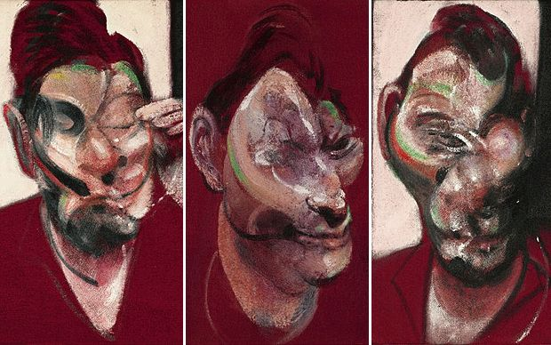 Francis Bacon's triptych of his great friend Lucian Freud has been kept   in private for 45 years.