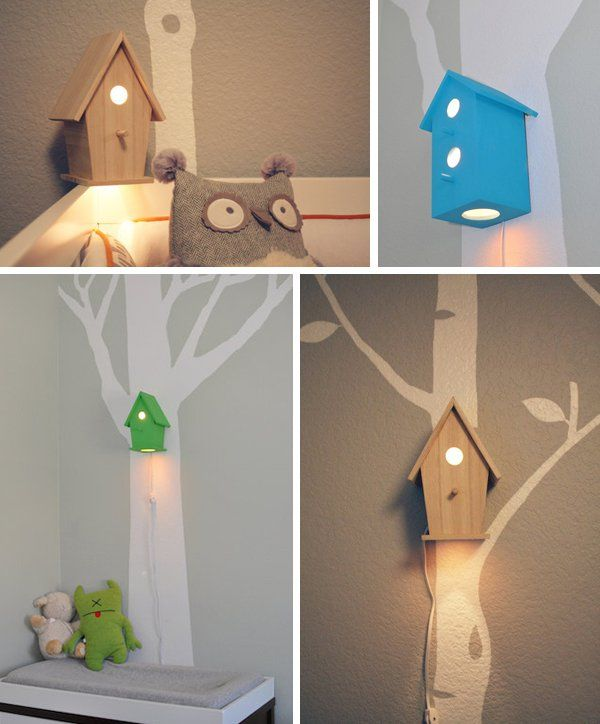 20 DIY Adorable Ideas for Kids Room - birdhouse nightlight and branch as curtain rod