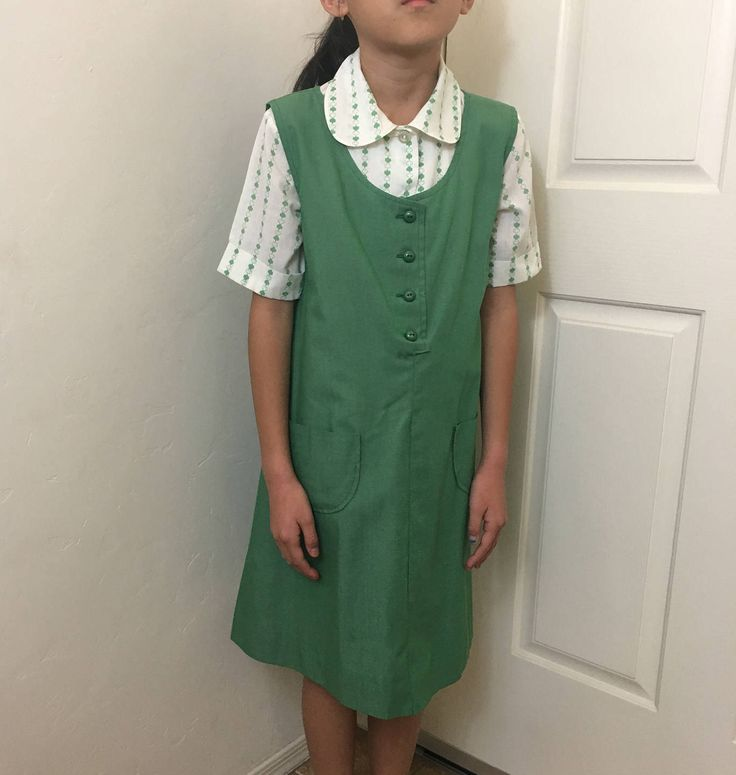 Girl Scout Uniform, Girl Scout Jumper, 1970's Girl Scout, Shirt & Jumper, Vintage Uniform, Clover Shirt, Green Jumper, Girl Uniform, Size 10 by GiftGarbBags on Etsy