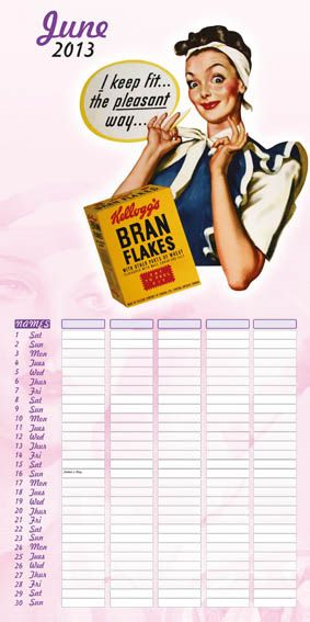 Kelloggs Family Planner 2013 june Calendar page! love the retro look of this calendar