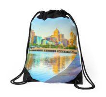 Melbourne Skyline Yarra Reflections from Southbank Drawstring Bag