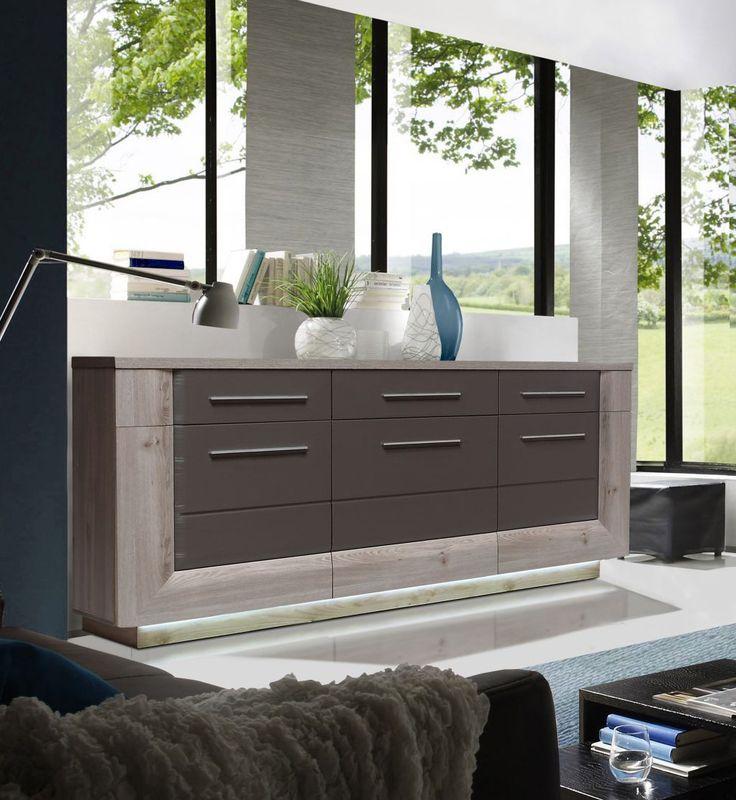 Sideboard nelsoneiche eiche grau mit beleuchtung woody 77 for Wohnzimmer bestellen