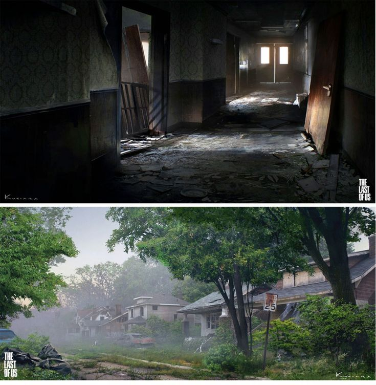 The Last of Us concept art... The first pic is that one hallway early on in the game where there were like 3 clickers and 5 runners coming at you all at once. I remember this all too fondly XP