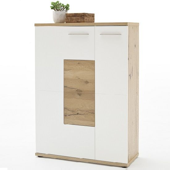 Viola Shoe Cabinet Left In Oak And Matt White With 2 Doors, will ensures a clean and neat hallway. This Shoe Cabinet is made of lacquered Cracked Oak With Matt White and oak fronts. It features 1 D...