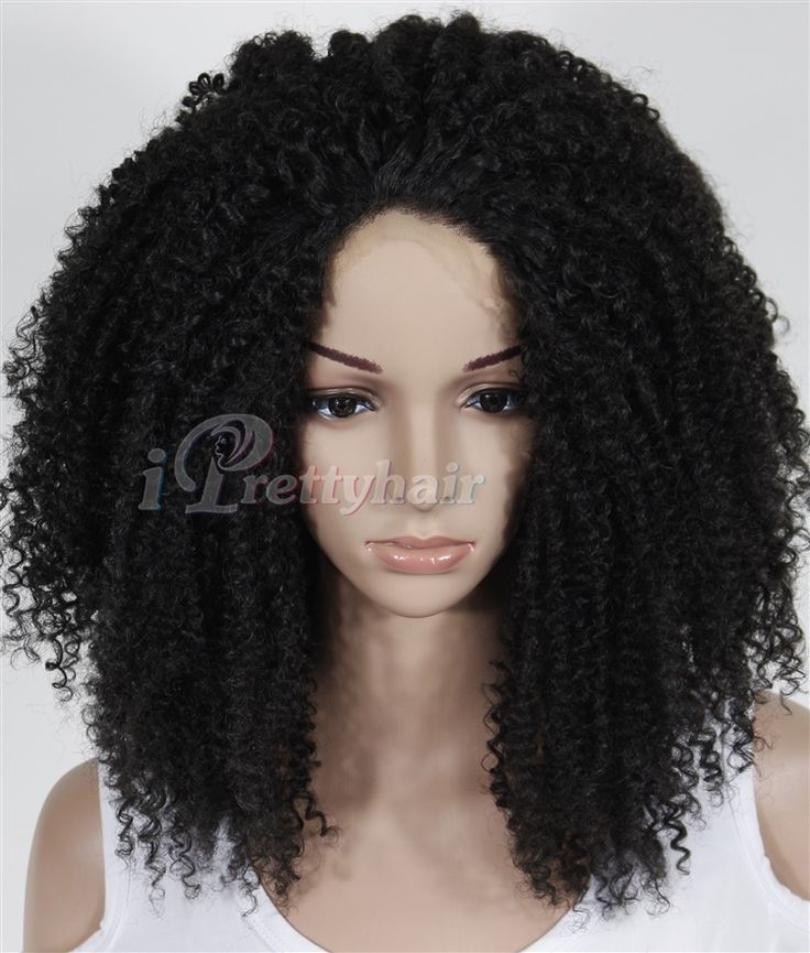 FREE SHIPPING Glueless Afro Kinky Curly 18inch in stock Front Synthetic Best Lace Wigs - US $69.00