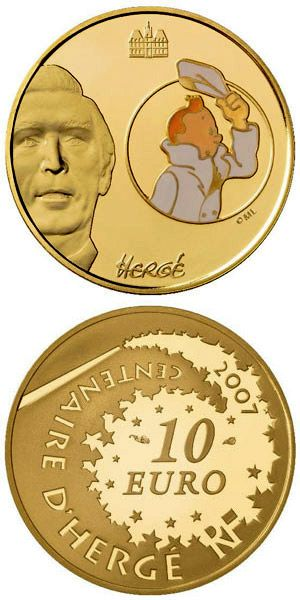 N♡T.10 euro: Tintin.Country:	France  Mintage year:	2006 Face value:	10 euro Diameter:	22.00 mm Weight:	8.45 g Alloy:	Gold Quality:	Proof Mintage:	1,000 pc proof