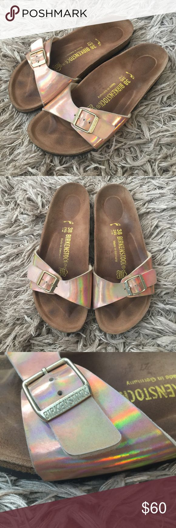 """Birkenstock Madrid in Mirror Rose Gold Birkenstock Madrid Sandals in color """"Mirror Rose Gold"""". These have a metallic/holographic coloring and are absolutely beautiful! Pre-loved, but still have a lot of life left. Light wear on bed of shoe and minor scuffs on the straps. Size 38 narrow (Ladies 7, Men's 5) Please see pictures and feel free to ask any questions! Birkenstock Shoes Sandals"""