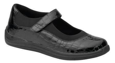 Chaussures orthopédiques en véritable cuir verni noir, appropriée pour pronation ou torsion du pied vers l'extérieur (déformation en valgus ou éversion). Le nom du modèle de chaussure est «Rose».  Disponible en couleurs variées. // Orthopedic shoes for foot valgus deformity.