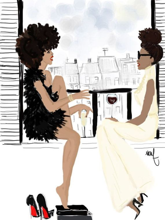 Black girls talking in paris Balcony by Nikisgroove on Etsy