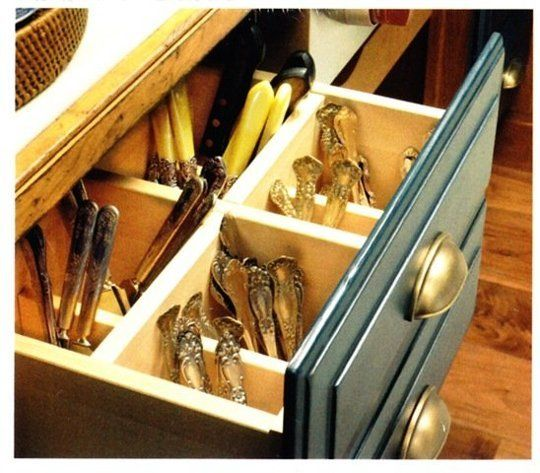 Save Space in a Small Kitchen: 20 Kitchen Items To Store Vertically  *drawer cubbies for flatware*