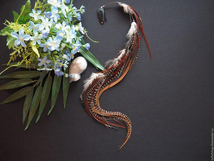 Фолк - полосатые коричневые перья для волос на съемной заколке - полосатый, перо, перья