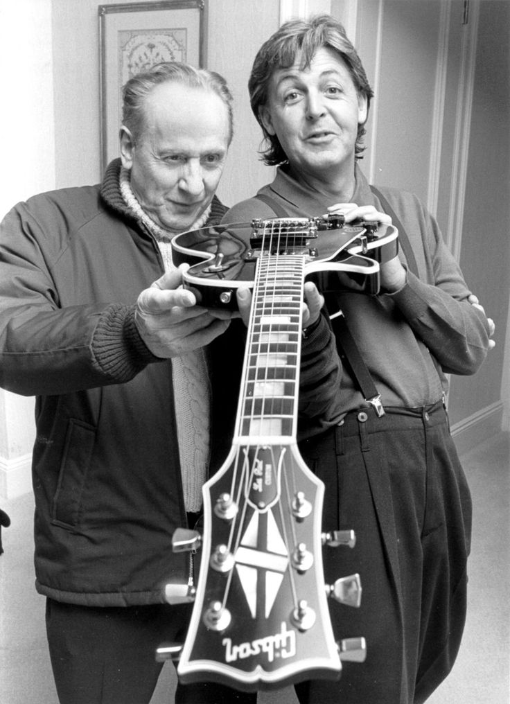 """Paul McCartney of Beatles with Gibson guitar maker Les Paul. RESEARCH DdO:) - http://www.pinterest.com/DianaDeeOsborne/music-strings-of-history/ - MUSIC STRINGS OF HISTORY. Gibsons were used by leading guitarists like Carlos Santana, Jimmy Page (Led Zeppelin), the Edge/ U2, Slash (Gun 'n' Roses), Bob Marley, Neil Young, Eric Clapton. CNN tribute said of Les Paul, """"Without him, the Beatles would not have even known some new techniques, it was thanks to the influence of Les if we used them."""""""