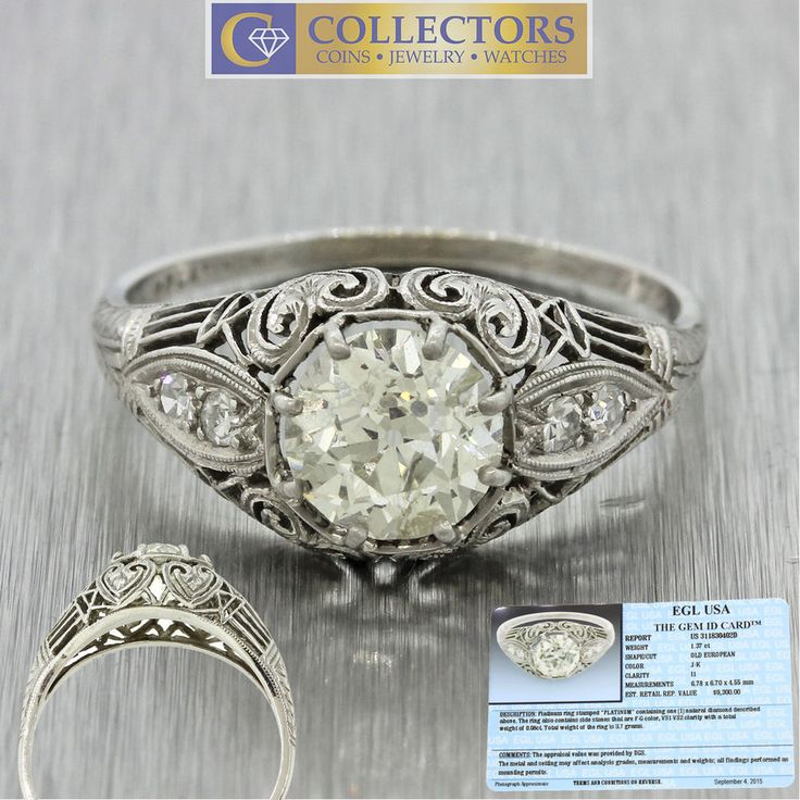 This is an antique Art Deco platinum diamond engagement ring that can be dated back to the 1930s. The ring is a size 8.0, and is also re-sizable. All diamonds are 100% natural and untreated. The diamonds on this ring are full of sparkle and fire that the pictures cannot capture! | eBay!